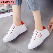 HOT ladies sneakers 2019 fashion charming vulcanized shoes Pu leather platform lace white casual