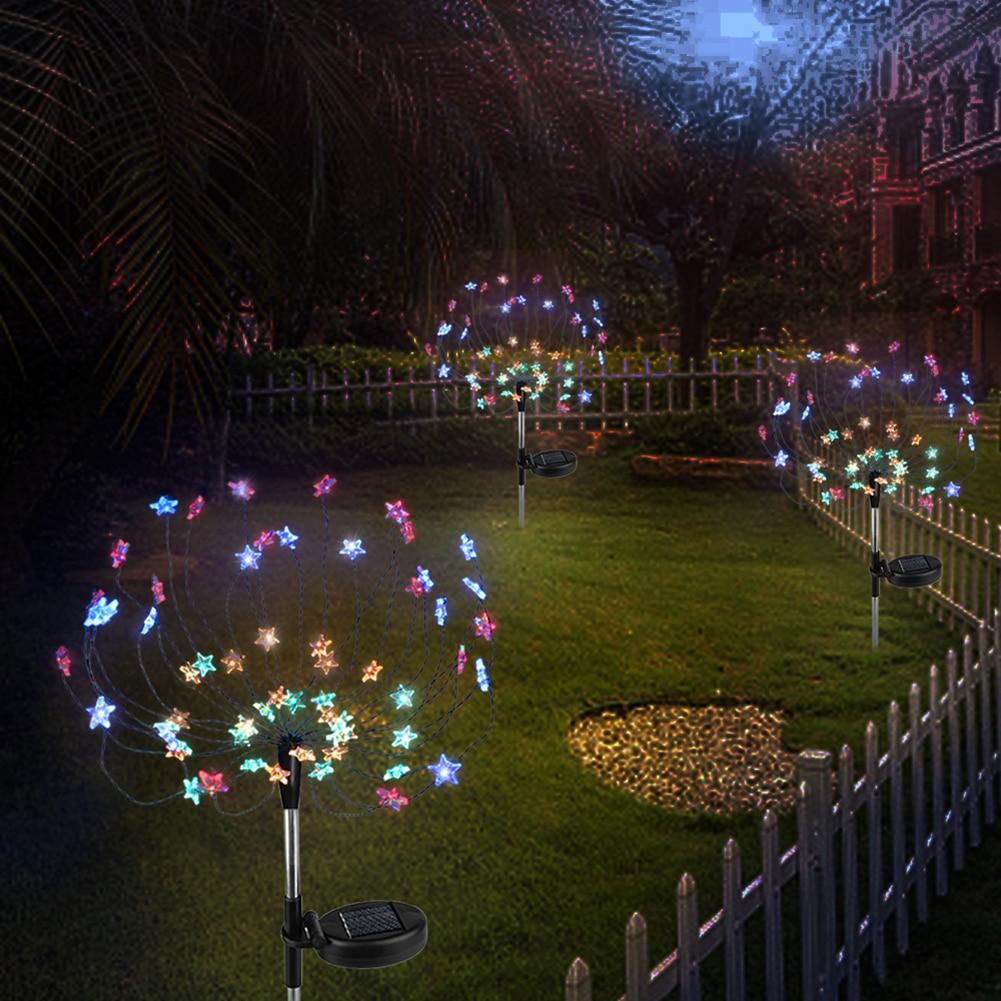 VKTECH 2pcs 90 LED Solar Powered Firework Lights IP44 Waterproof Outdoor Lamp For Landscape Path Lawn Garden Outdoor Decoration