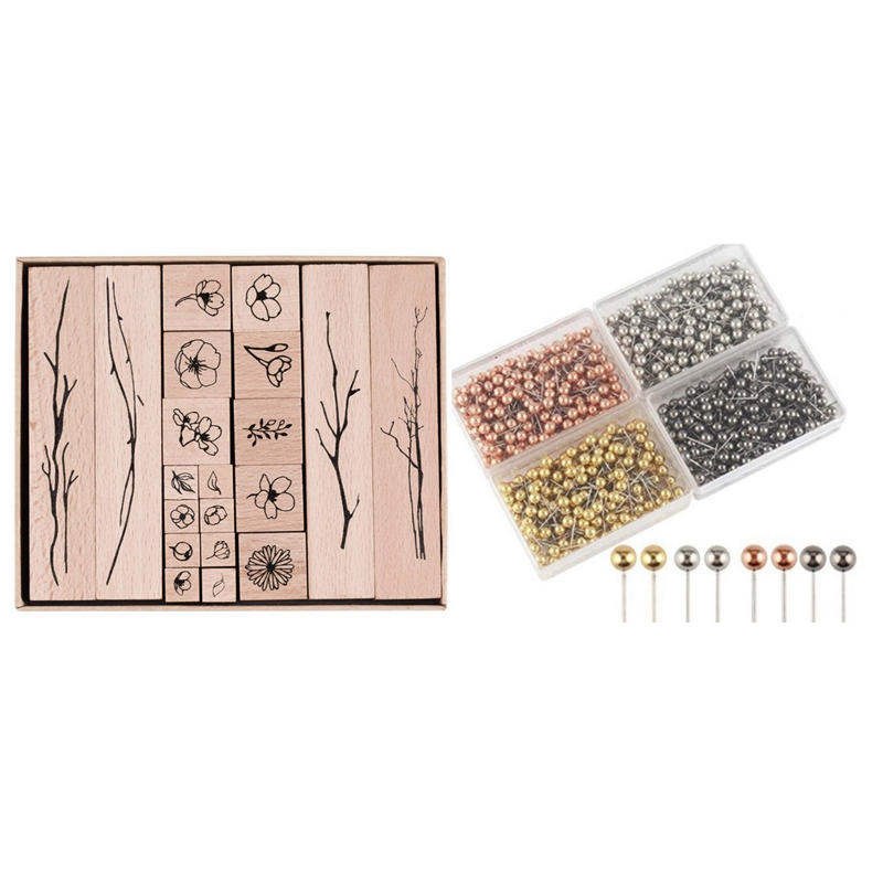 20Pcs Vintage Flowers Branch Decoration Stamp Wooden Rubber Stamps & 800 Pcs Beads Head Marking Push Pins, 4 Colors