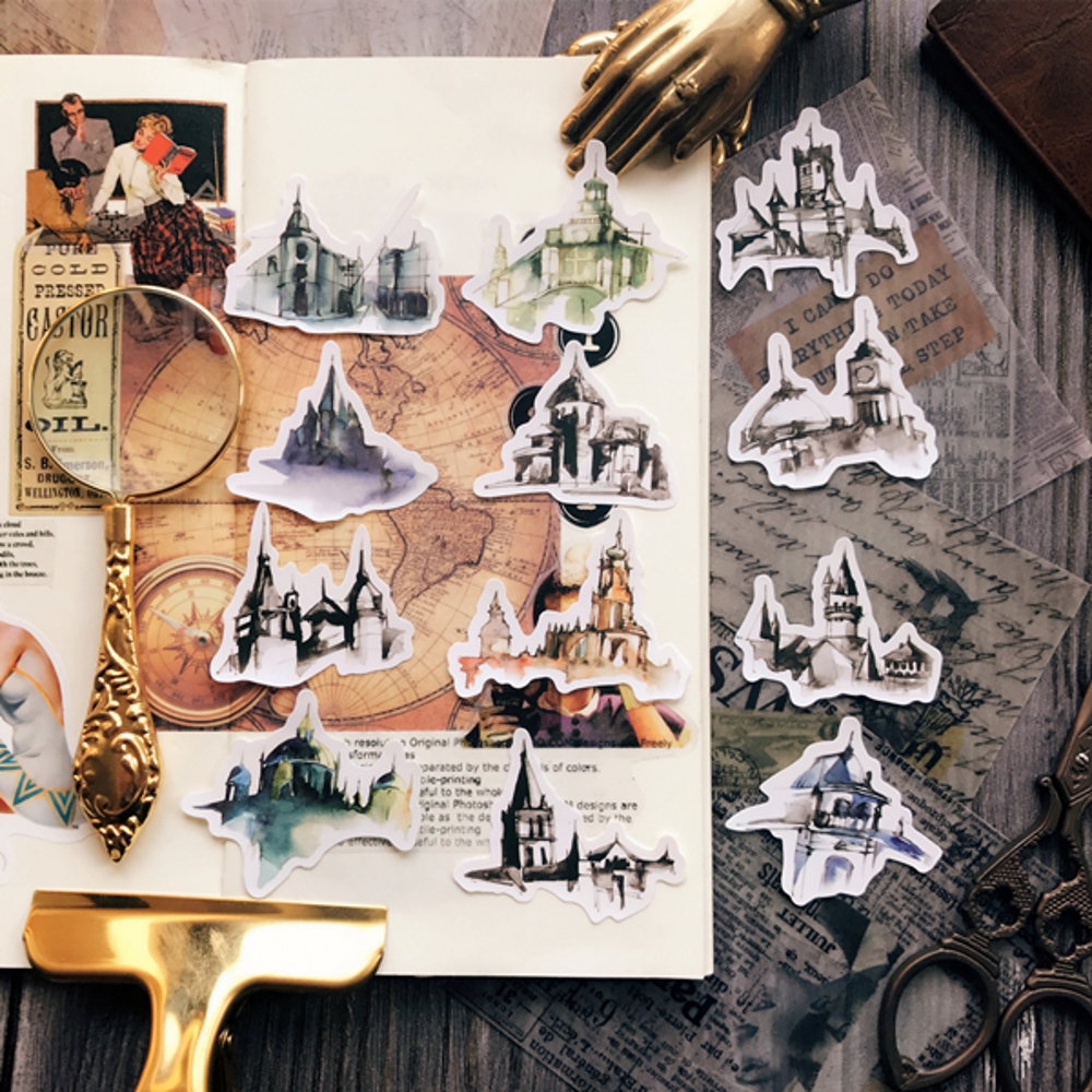 12Pcs/Set Travel Vintage Gothic Architecture Sticker DIY Craft Scrapbooking Album Junk Journal Planner Decorative Stickers