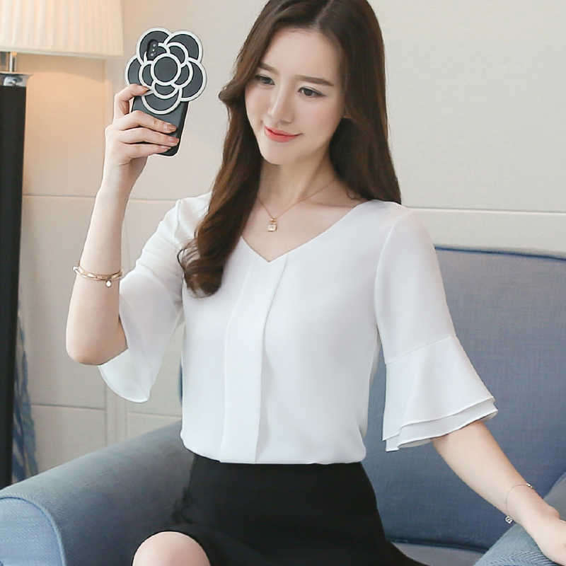 ผู้หญิงเสื้อ 2018 ฤดูร้อนเสื้อชีฟองสั้น Flare แขนเสื้อสุภาพสตรีเสื้อลำลอง Blusa Feminina เสื้อ Lady เสื้อ D643 25