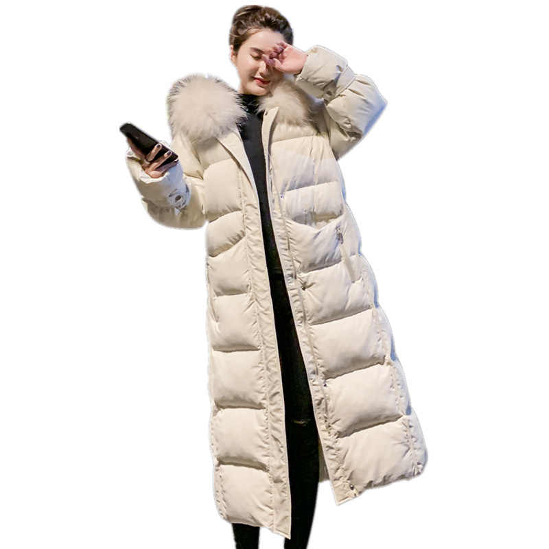 New Elegant X-Long Women's Winter Jackets and Coats Parkas Winter Warm Thicken Faux Fur Coats Parker Female Jacket