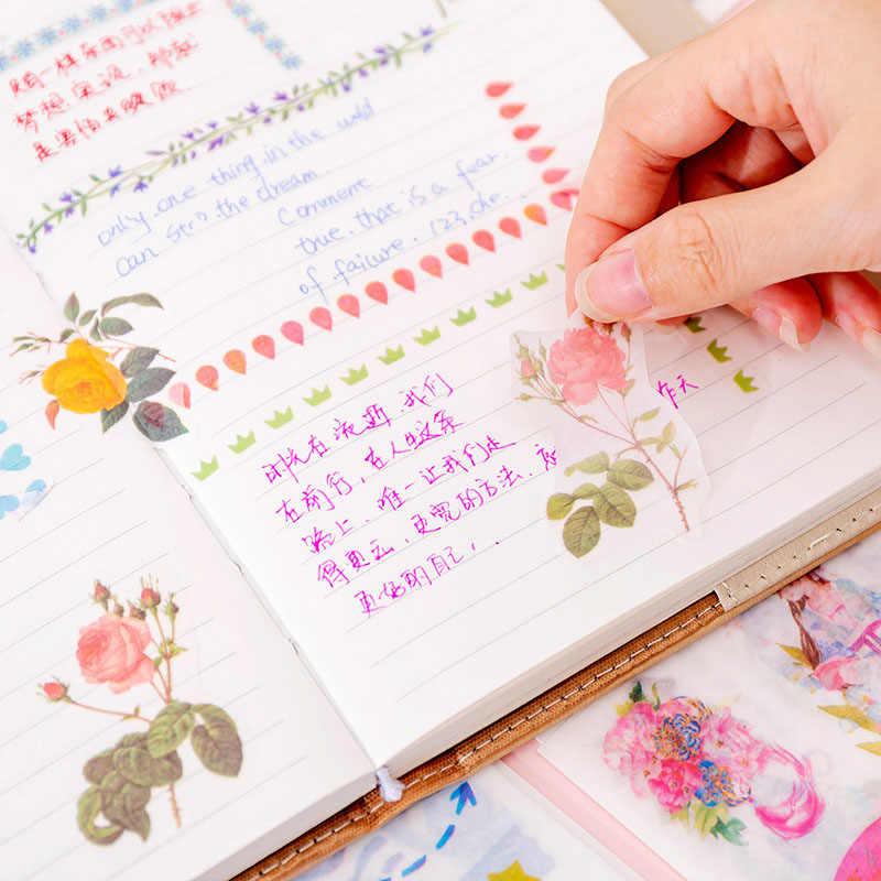 6 feuilles Kawaii papeterie autocollants mignon licorne fleur autocollants coeur adhésif autocollant pour enfants décor Scrapbooking journal Albums