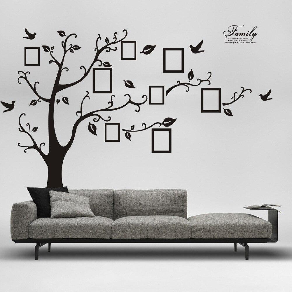 Ev ve Bahçe'ten Anahtar Mahfazaları'de Yeni stil/180X250 siyah ve beyaz desen çıkarılabilir bellek ağacı fotoğraf ağacı duvar Sticker ajan zooyoo duvar title=
