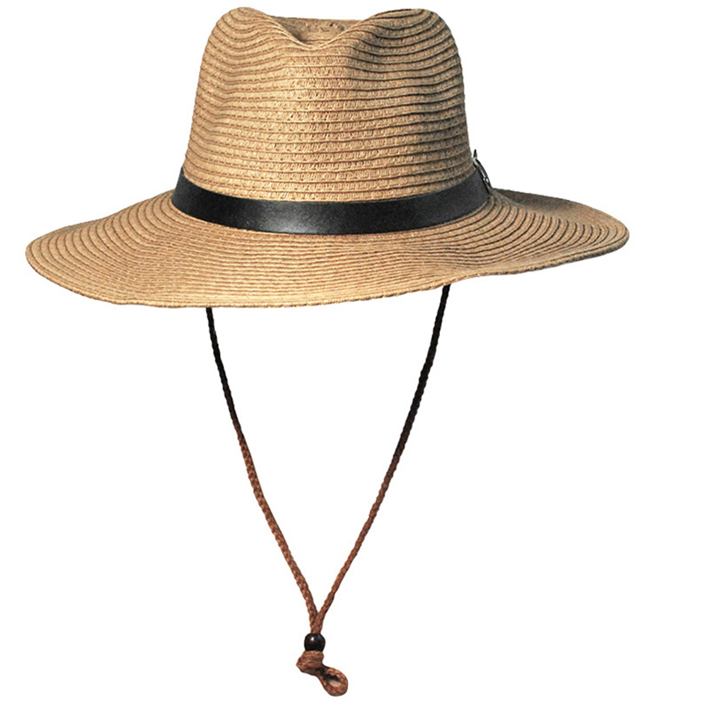 Men Straw Cowboy Hat Sun Hat Folding Western Wide Curved Brim With Adjustable Chin Strap Hat For Summer Outdoor  -MX8