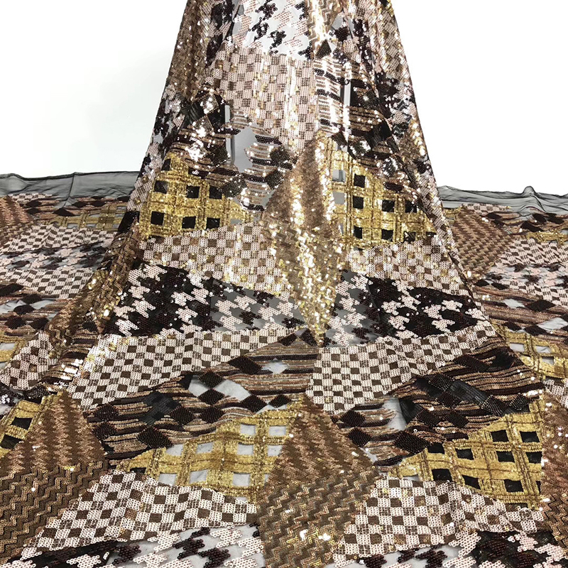 2020 Latest African Lace Fabric High Quality Swiss Voile Lace Fabric With Wonderful Sequins Tulle For Women Evening Dress 5 Yard