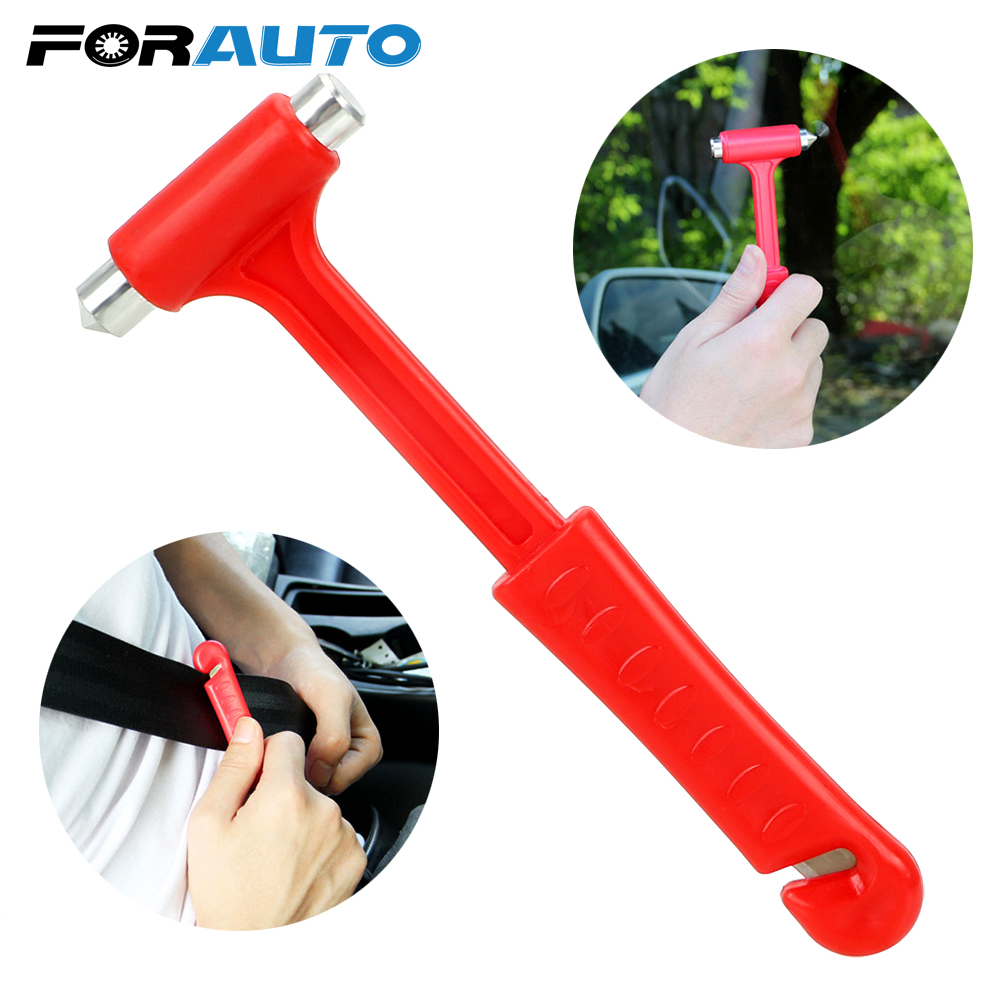 FORAUTO Car Safety Hammer Life-Saving Car Safety Escape Glass Window Breaker Seat Belt Cutter Mini Emergency Hammer image