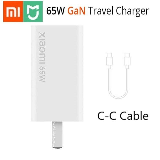 Original Xiaomi GAN 65W Charger 48% USB ขนาดเล็กประเภท C เอาต์พุตสมาร์ท PD Quick Charge 5V/9V/12V/15V = 3A 10V = 5A 20V = 3.25A