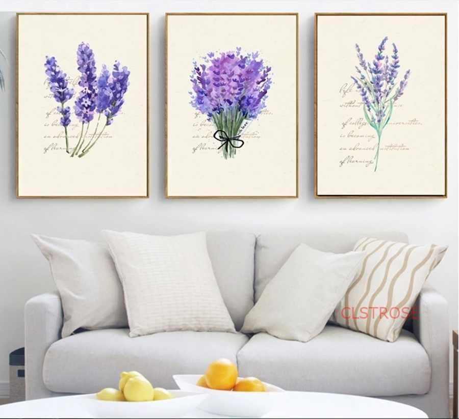 Нордическая Лаванда английская Combina декоративная модульная Картина на холсте Настенная картина для гостиной домашний декор плакат без рамки