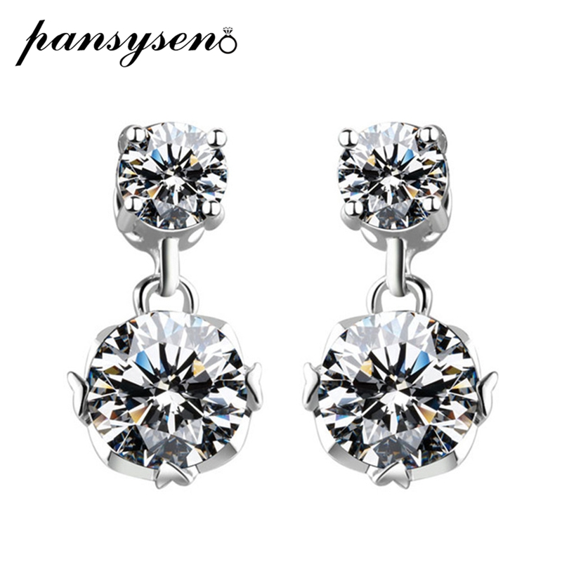 PANSYSEN New 100% 925 Sterling Silver Created Moissanite Wedding Engagement Dangle Drop Earrings For Women Valentine's Day Gift