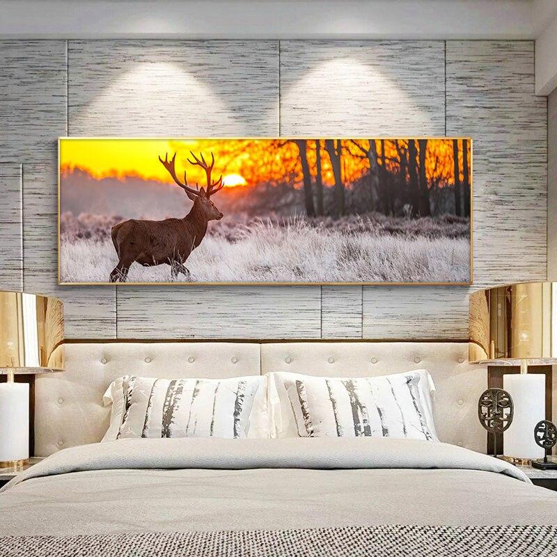Закат пейзаж стены художественные плакаты и принты Олень в лесу