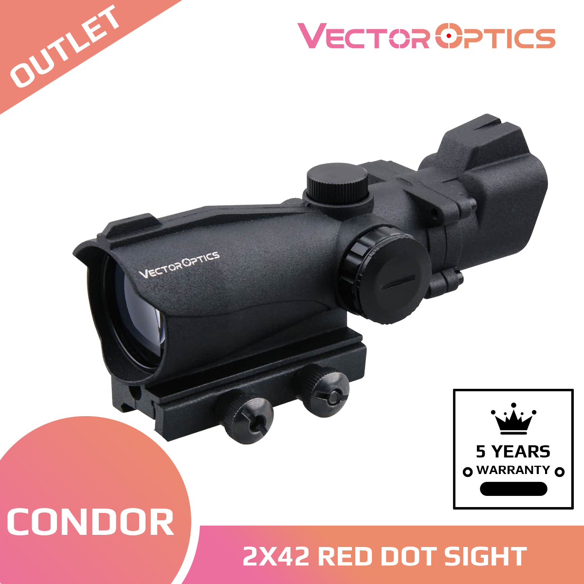 Vector Optics Condor 2x42 Green / Red Dot Scope Weapon Sight Front Rear Iron Sight Hunting Shooting 2 Times Magnification 5 MOA