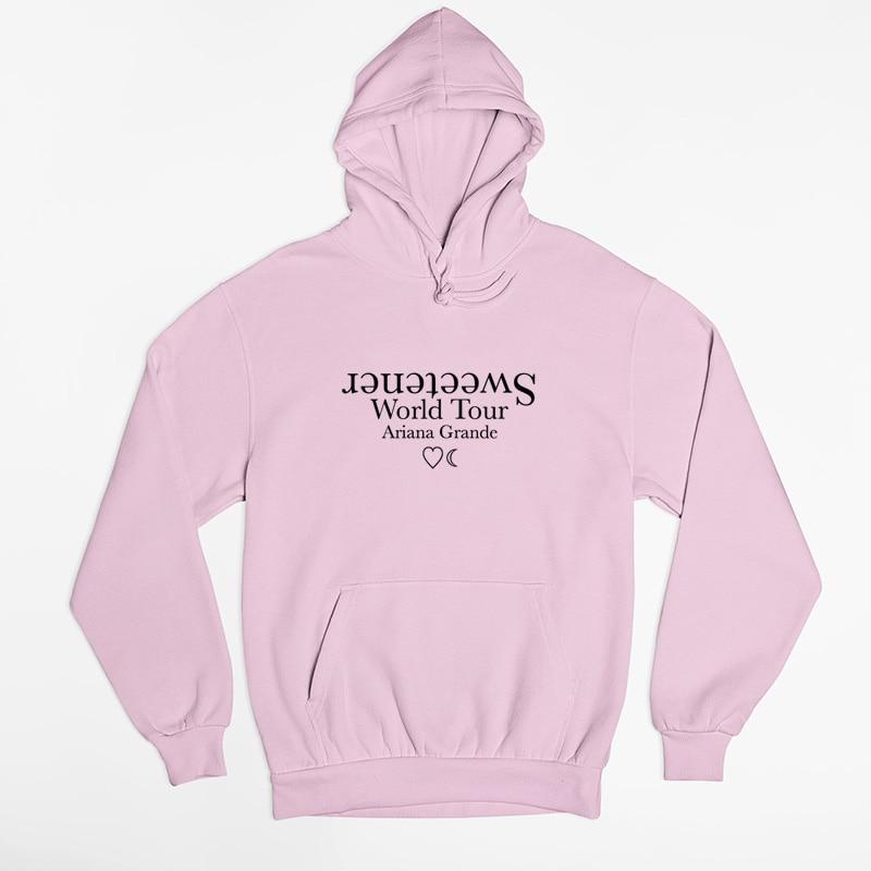 Sweetener World Tour Hoodie Women Long Sleeve Ariana Grande Pink Hoodies Sweatshirts Harajuku Streetwear Woman Clothes