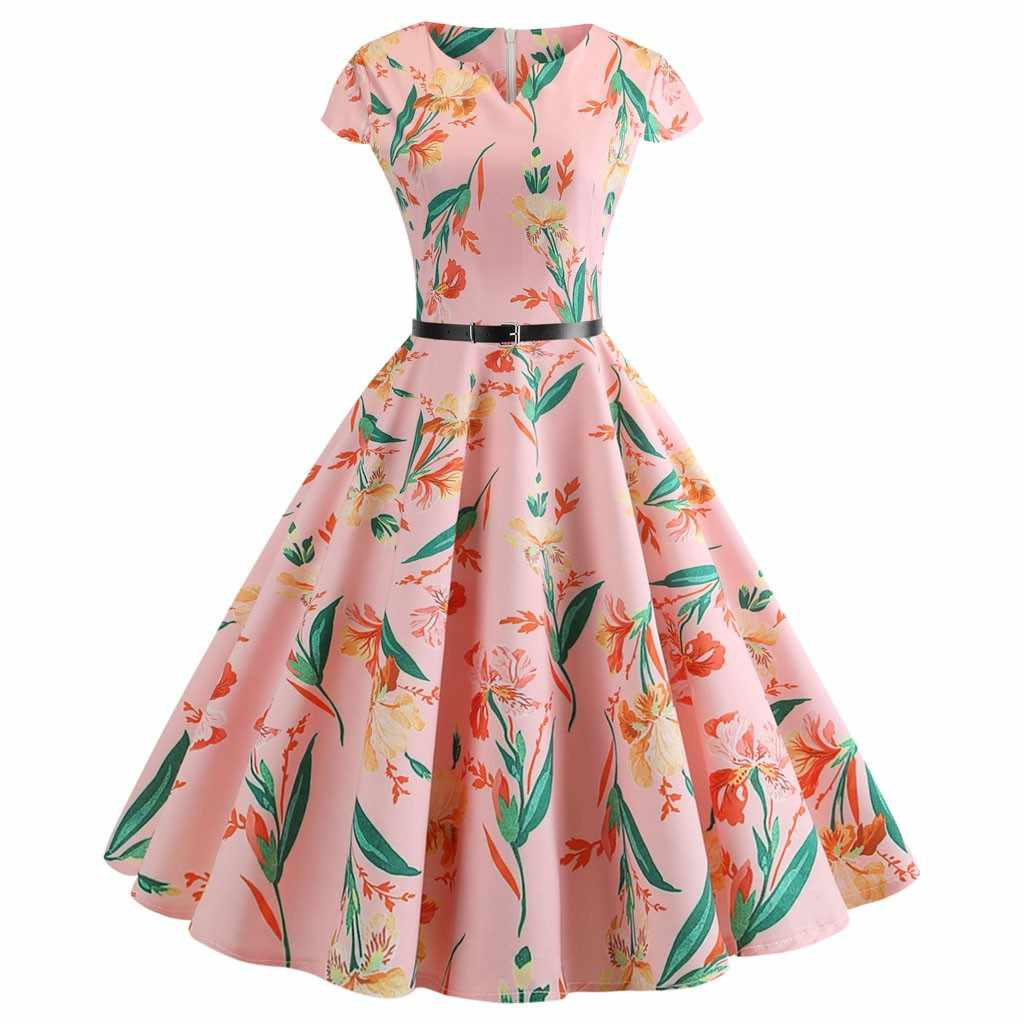 2020 kobiet sukienka z nadrukiem cyfrowym panie jesień sukienka Midi linia duża spódnica typu swing z krótkim rękawem O-neck sukienka Vestidos darmowa wysyłka
