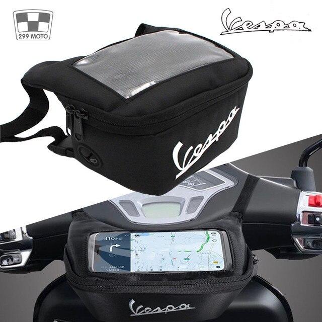 Motorcycle Handlebar Bag, Fuel Tank Bags, Windshield Headphone Bag For Vespa Gts 250 300 Sprint 50 150 Etc.