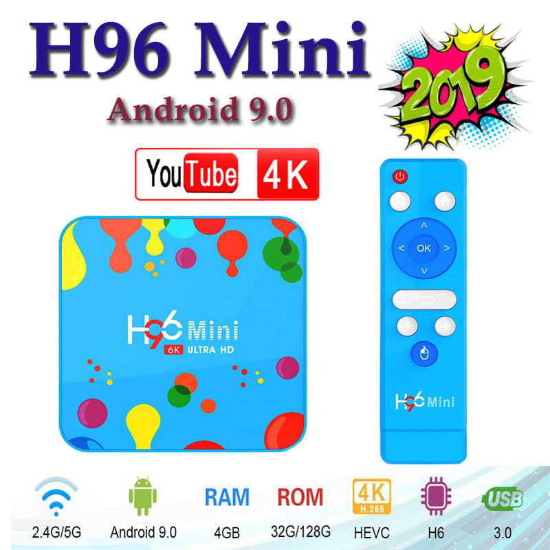 Nouveau Android 9.0 tv box H96mini H6 haute qualité WIFI2.4G/5G Bluetooth TV récepteurs 4G 128G 6k HD media player smart TV box