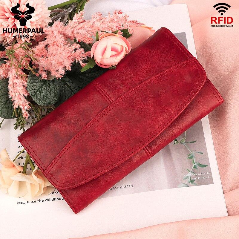 HUMERPAUL Genuine Leather Wallet Fashion Women Clutch Wallets Luxury Female Coin Purse Rfid Card Holder bags portfel damski