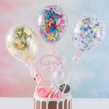 5 дюймов блестящие конфетти шар Торт Топперы Мини блесток латексные шары ремесло для торта Топпер день рождения торт Свадебные украшения