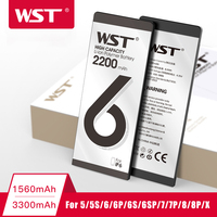 Bateria de alta capacidade do telefone de wst para o iphone 6s 7 8 plus 5 5S x baterias de substituição bateria interna com kits de ferramentas completos