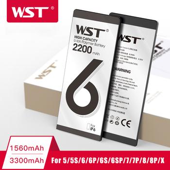 Bateria telefonu WST o dużej pojemności do iPhone 6 6s 7 8 Plus 5 5s X baterie zapasowe Bateria wewnętrzna z pełnymi zestawami narzędzi tanie i dobre opinie 1801 mAh-2200 mAh Kompatybilny ROHS MSDS Apple iphone ów For iPhone 6S 6 6SPlus 6Plus 5S 5 7 7Plus 8 8 Plus X Battery