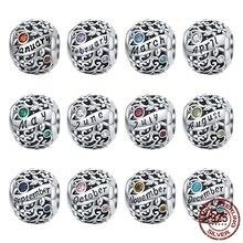 MOWIMO gerçek 925 ayar gümüş Birthstone boncuk Charm Fit gümüş bilezik kolye takı doğum günü hediyesi BKC1385