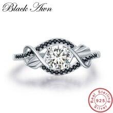 [Черный AWN] 3,5 г натуральная 925 пробы серебряные ювелирные изделия черный и белый камень свадебные кольца для женщин C307