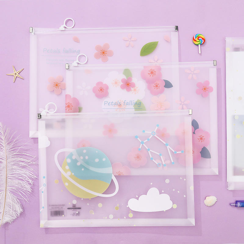 1pcs Lovely A4 Flower Stars Series Transparent PP Papers Books Office File Folder Document Bags Storage Stationery Gifts