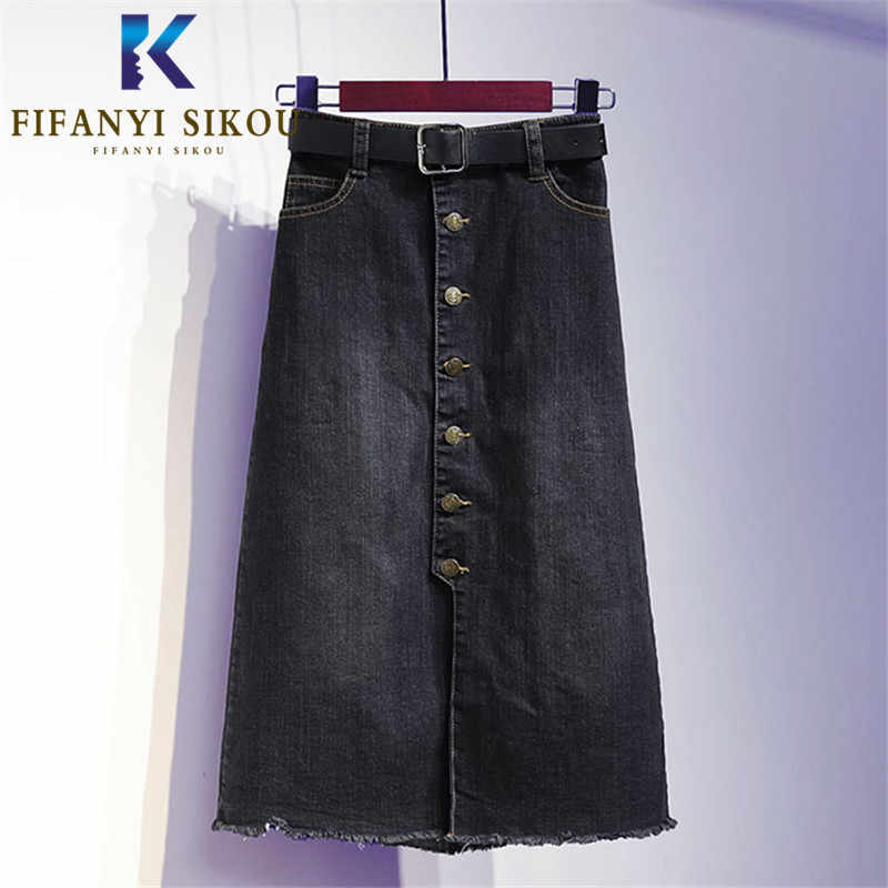 Zomer Vrouwen Zwarte Denim Rok Losse Plus Size Fashion Hoge Taille Midi Lange Rok Lady Single Breasted Losse A-lijn Jeans rokken