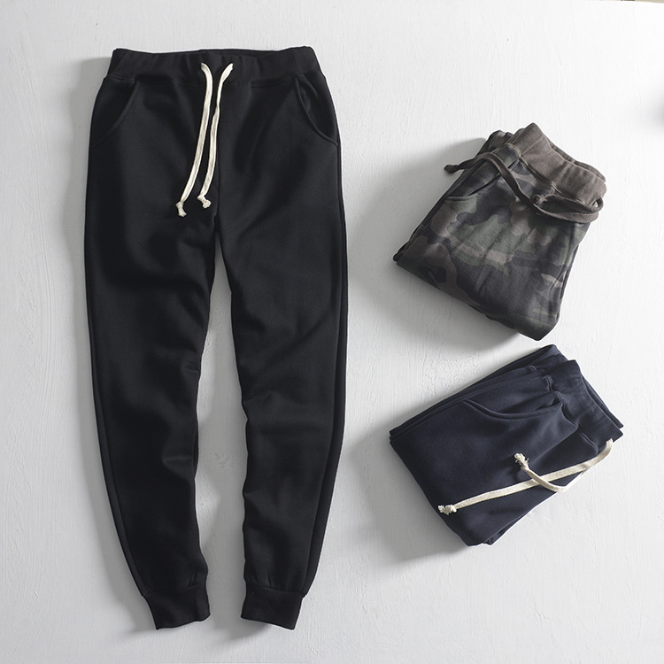 Spring Clothing New Style Men Slim Fit Pants Plus Velvet Sweatpants Japanese-style Casual Trend Military Camouflage Sports Draws