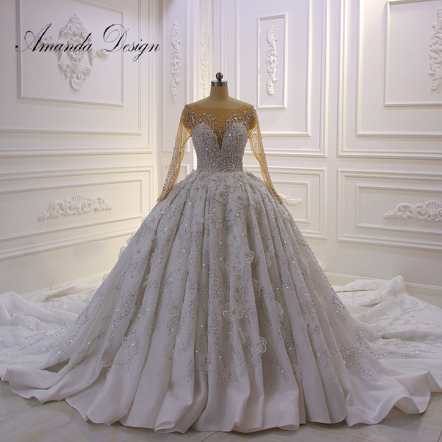 Amanda Design Luxurious Full Sleeves Lace Applique Crystal Shiny 3D Flower Wedding Dress