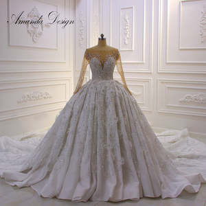 Wedding-Dress Amanda-Design Crystal Applique Lace Flower 3D Full Shiny Luxurious