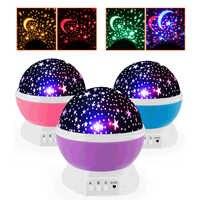 Luz de noche LED proyector estrella Luna cielo giratorio batería operada lámpara de noche para niños bebé dormitorio regalos de guardería