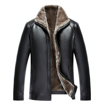 Faux Leather Jacket NEW Fashion Men Thicken Winter Tops Long Sleeve PU Leisure Coat Outerwear Classic Business Male Jacket 4XL