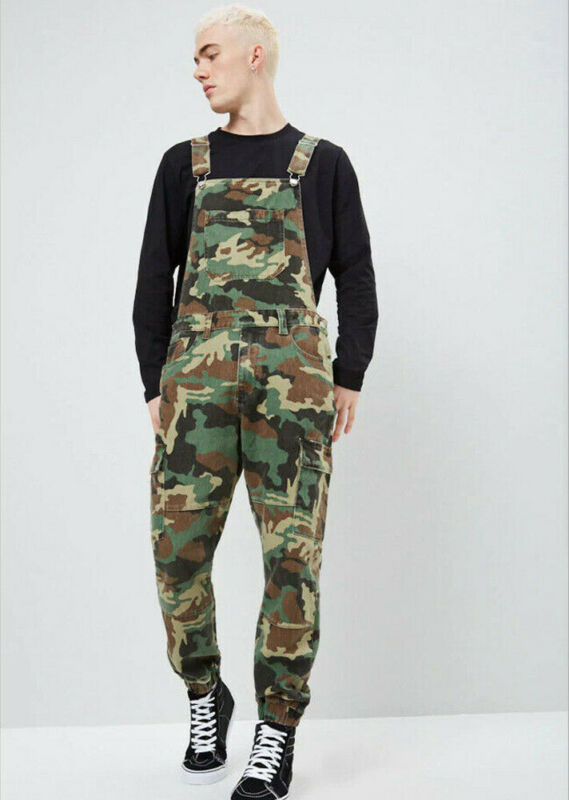 Men's Distressed Denim Camouflage Overalls Bib Jumpsuit Moto Biker Jean Pants