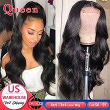 Body Wave peluca con cierre de encaje 4x4, peluca de cabello humano brasileño 13x 4/x6 con encaje frontal, pelucas de cabello humano Remy para mujer con Baby Hair QUEEN