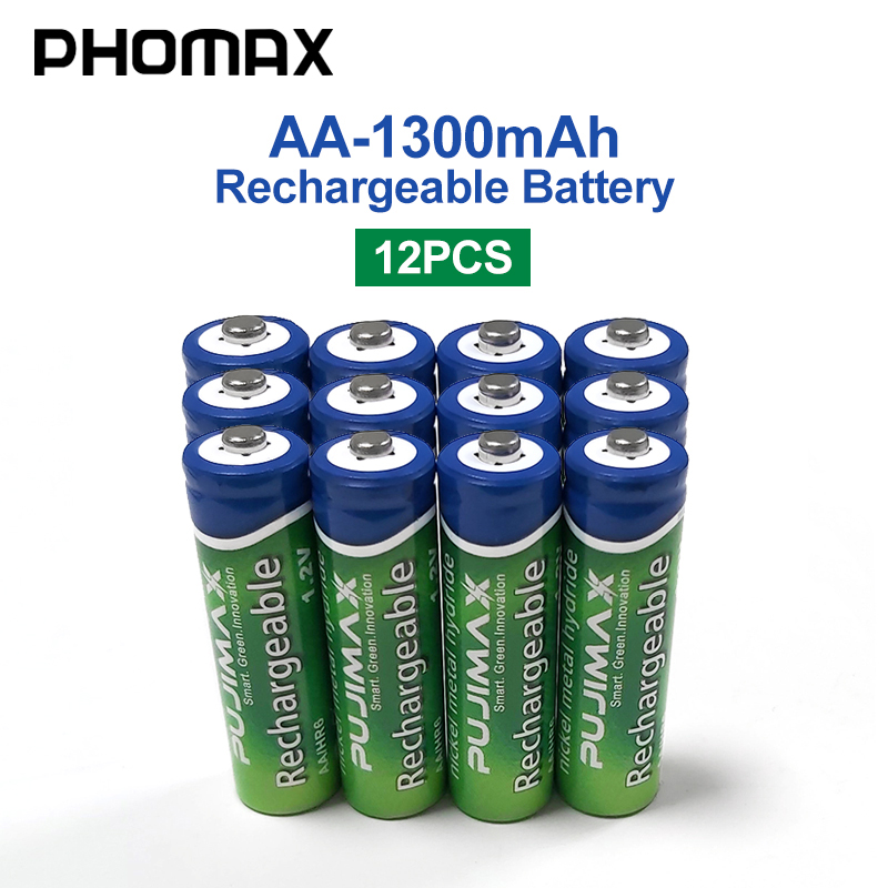 PHOMAX 12pcs/batch 1.2V AA rechargeable remote control camera batteri 1300mAh for pre-charging NiMH batteries fans mike toys image