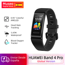 Versión global Huawei Band 4 Pro Amoled 0.95 'Metal Material Sensor de ritmo cardíaco Sleep Bracelet GPS