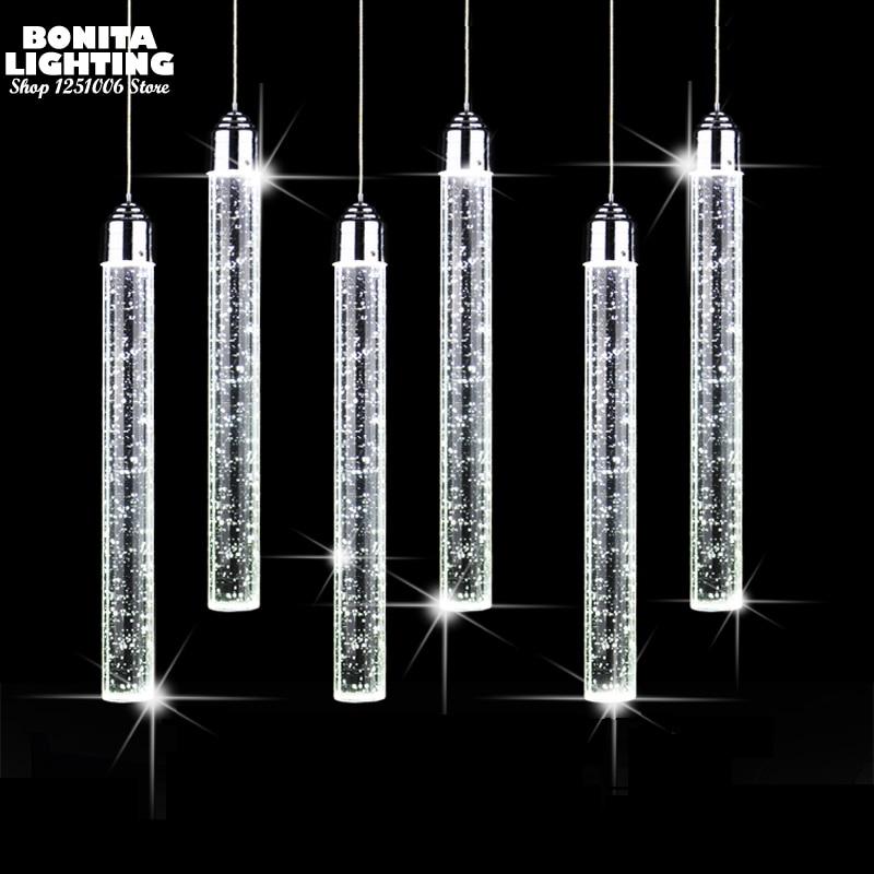 Pendant Lamp Led Modern Minimalist Bubble K9 Crystal Hanging Lights Dining Room Cylinder Long Tube Pendant Lights High Ceiling