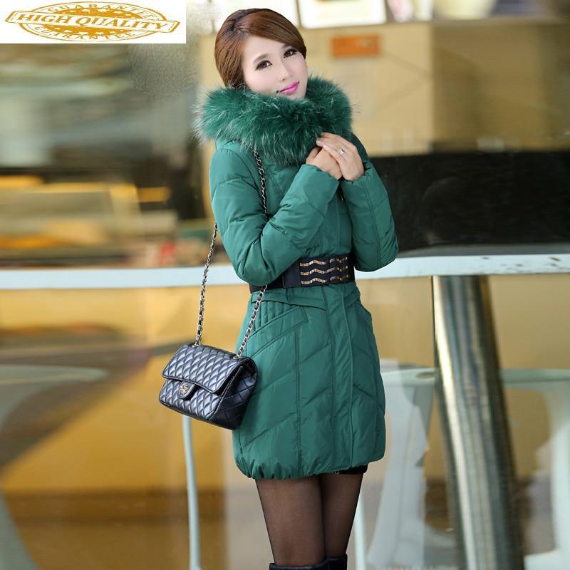 Women's Down Jacket Long Winter Coat Women Big Racoon Fur Collar Female Jacket Woman Parka Manteau Femme Hiver KJ883
