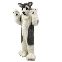 Adult Gray Wolf Husky Dog Fursuit Mascot Costume Party Dress Outfits Clothing Promotion Carnival Hallowen Cosplay Unsiex Gift