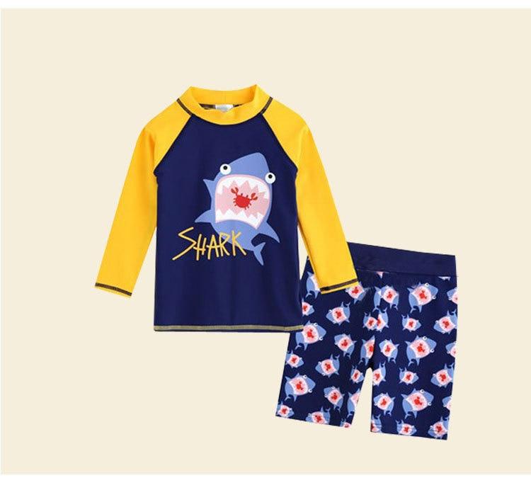 Bathing Suit Sun-resistant Girls BOY'S Baby Swimming Trunks One-piece Long Sleeve Infants 1-3 Years Old Dacron Children Warm Swi