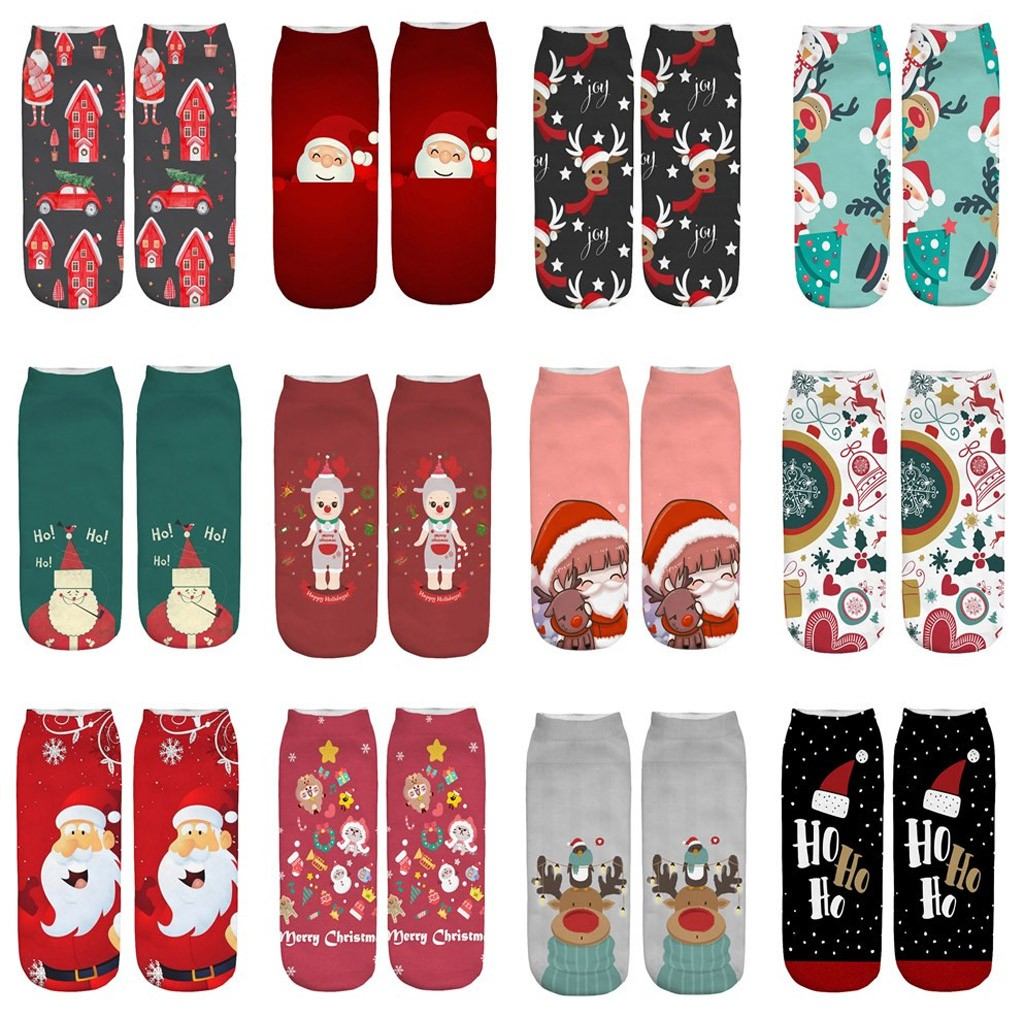 Casual Work Business Socks 3D Christmas Santa Elk Printing Medium Sports Socks For Men And Women