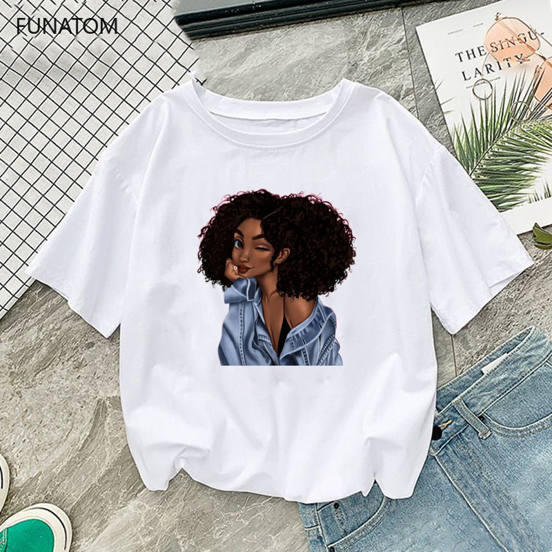 Melanin Poppin Shirt Vogue T Shirt Women Black African Curly Hair Girl Printed Tshirt Femme Harajuku Clothes Female T-shirt Tops