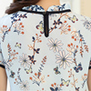 2021 Summer Floral Print Chiffon Blouse Ruffled Collar Bow Neck Shirt Petal Short Sleeve Chiffon Tops Plus Size Blusas Femininas 2