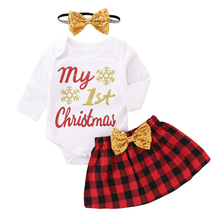 Baby Girl Clothes My First Christmas Set 3Pcs Letter Print Bodysuit+Bow Skirt+Headband Outfits D35
