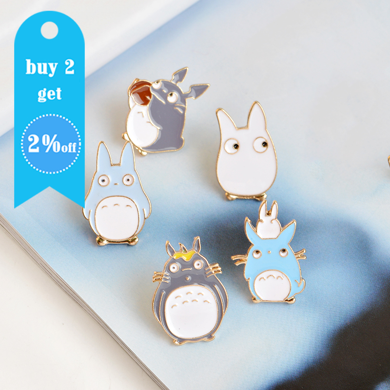 5pcs/set Japan Anime TOTORO Enamel Pins and Brooches Childrens Clothing Badge Corsage My Neighbor Totoro Jewelry 2