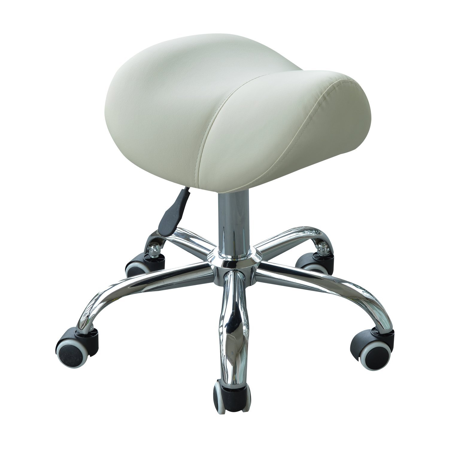 HOMCOM Stool Saddle For Hairdresser Salon Aesthetic Height Adjustable With Wheels Steel 52×53×49-61 Cm Cream