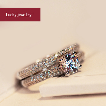 Double White Gold Diamond Ring For Women Lover Friend 50 points Micro Set AAA Zircon Wedding Engagement S925 Jewelry Gift - discount item  30% OFF Fine Jewelry