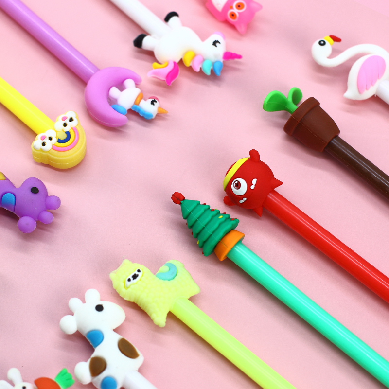 20 Pcs/set 8 Colour Ins Animal Toy Gel Pen Neuter Pen Bag Packaging Kawaii Students Stationery Gift Supplies Stationery