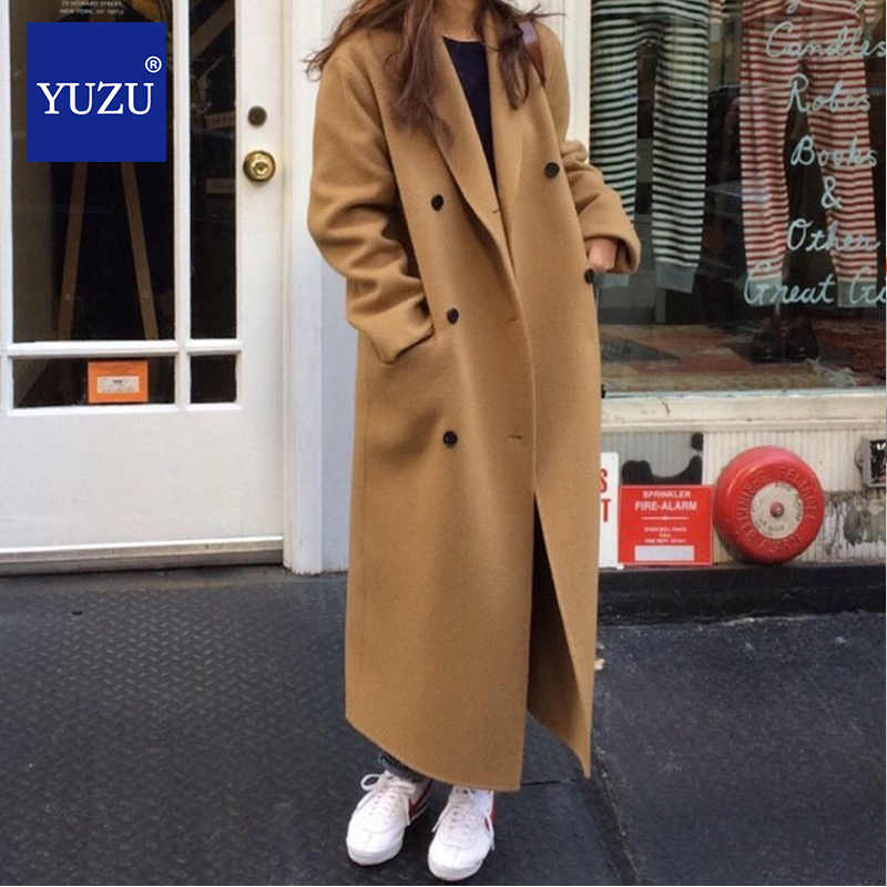 Wool Coat Korea French Style Thick Loose Double-breasted Long Coat Outwear Casual Winter Elegant Overcoat Woolen Coat